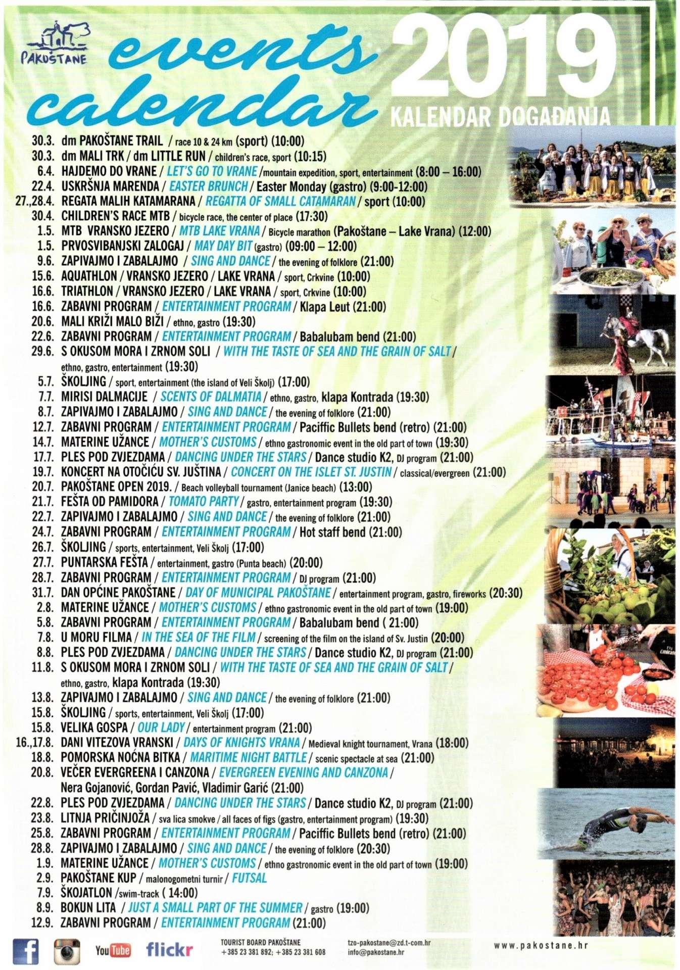 PAKOŠTANE - Events calendar 2019
